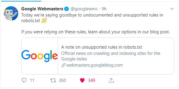 BREAKING NEWS: Google Drops NoIndex Robots txt Directive